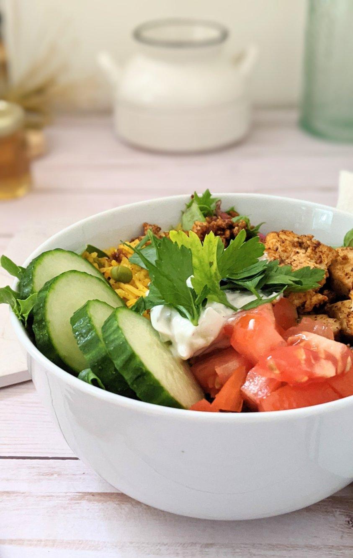 vegan shawarma salad bowl recipe with tofu gluten free shawarma recipes easy plant based chicken shawarma bowl with mediterranean rice tomatoes cucumber and vegan tzatziki dairy free healthy low calorie shawarma bowls
