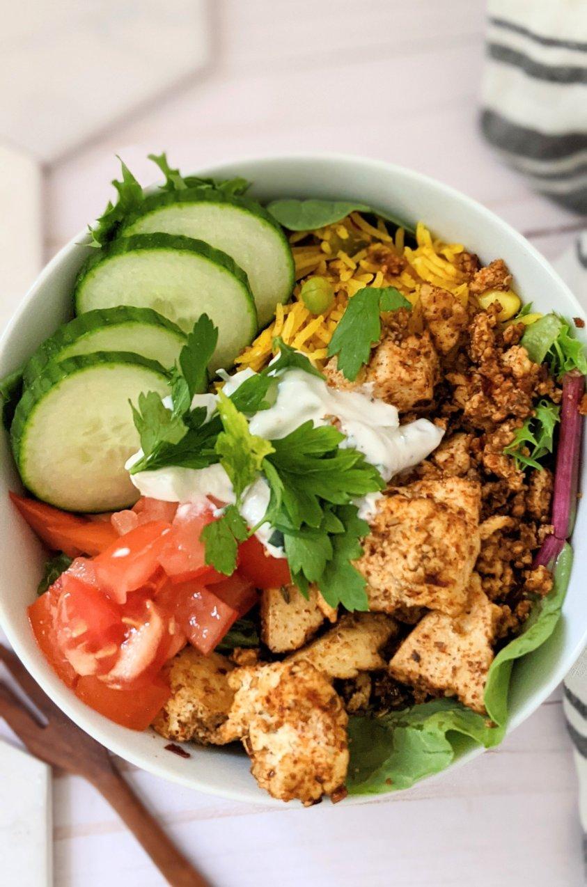 healthy vegan shawarma salad recipe tofu shawarma bowls gluten free plant based spiced shawarma vegetarian chicken shawarma recipe low calorie high protein vegan dinners