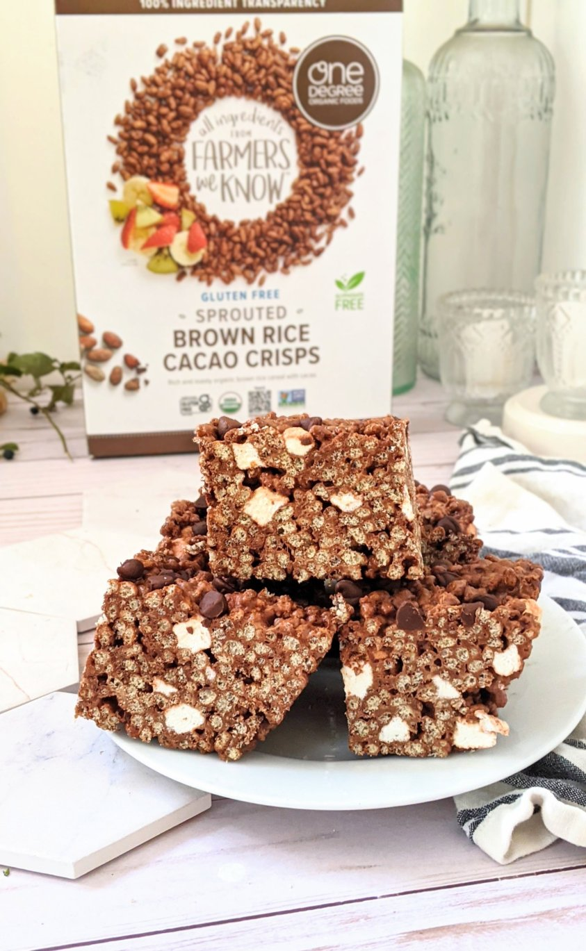 chocolate rice crispy treats recipe with cacao powder cocoa powder brown rice krispie treats cereal and chocolate chips healthy plant based vegan summer snacks for dessert or picnics beach day treats