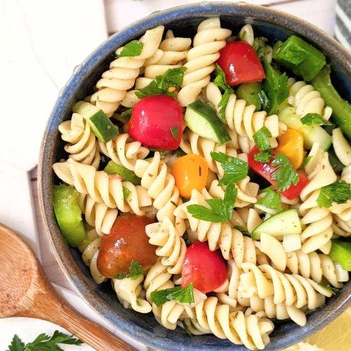 lemon and herb pasta salad vegan gluten free lemony pasta salad with parsley and italian seasonings olive oil lemon vinaigrette recipe healthy light summer side dishes lite