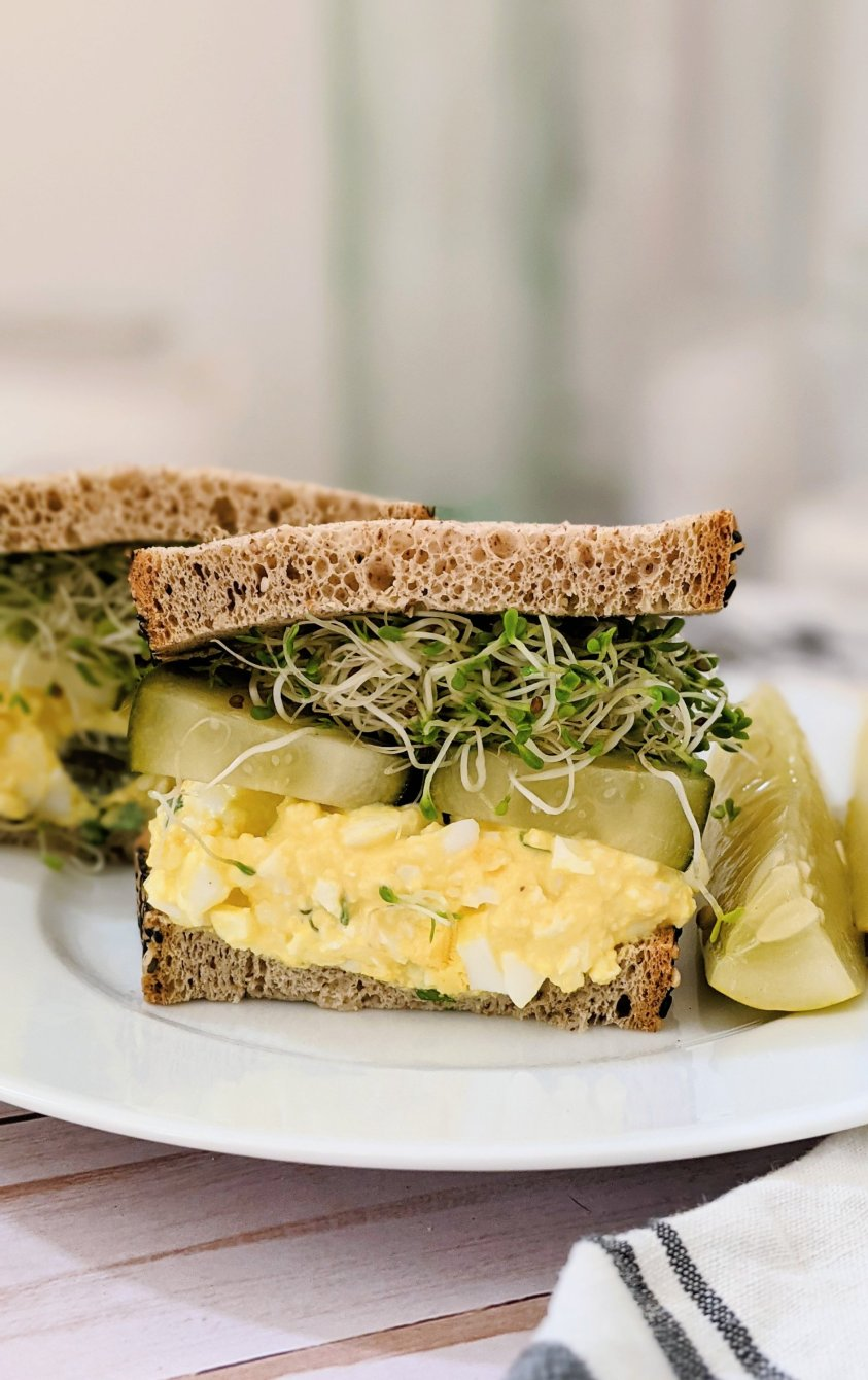 egg salad sandwich with pickles and sprouts dill pickle egg salad recipe keto low carb plant based lunches high protein high fiber sandwiches low carb