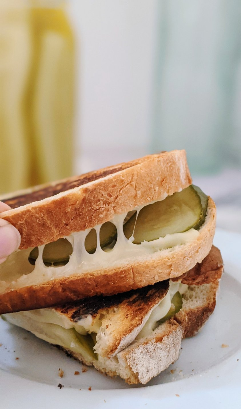 dill pickle grilled cheese recipe vegetarian gluten free ad keto options recipe with pickles for plant based diet low acrb grilled cheese with pickles recipe
