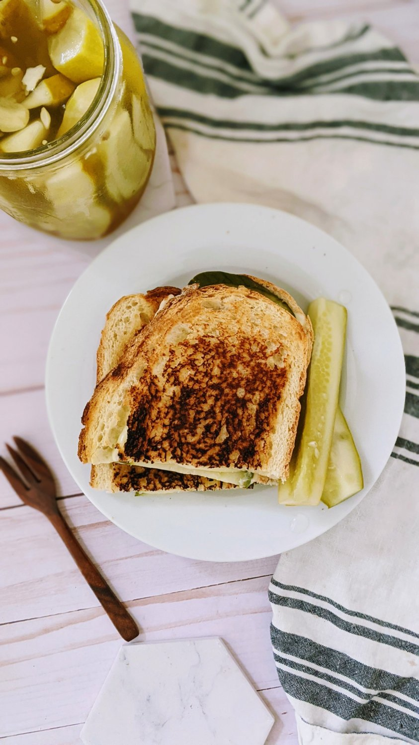vegetarian dill pickled grilled cheese recipe with sweet pickles garlic pickle sandwich recipe meatless monday recipes with pickles and bread