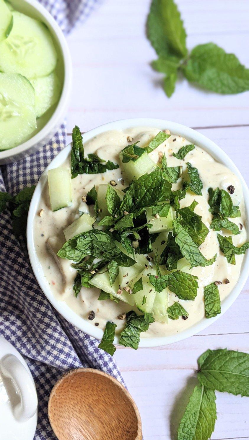 mint tzatziki without dill no dill tzatziki sauce mint cucumber yogurt sauce recipe for falafel pitas sandwiches wraps and shawarmas vegetarian and gluten free