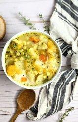 vegetable chowder vegan healthy coconut milk chowder vegan gluten free vegetarian plant based healthy potato chowder sweet potatoes corn