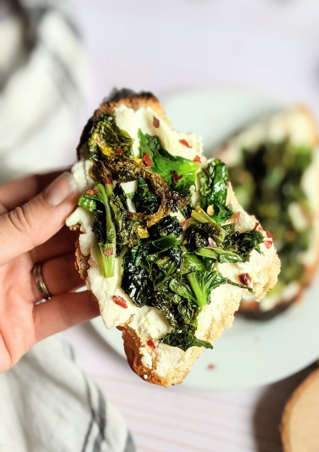 breakfast kale recipes healthy brunch ideas with kale ricotta toast recipes ricotta cheese on toasted gluten free bread with sauteed garlic and kale topped with chili pepper flakes vegetarian meatless brunch toast ideas