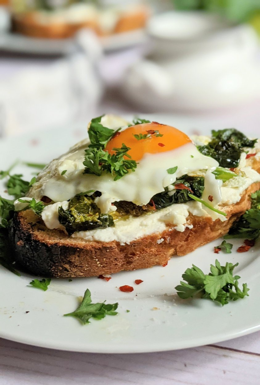 spinach egg ricotta toast recipe with garlic gluten free ricotta toast for breakfast savory recipes with eggs and cheese on toast italian ricotta toast for breakfast or brunch