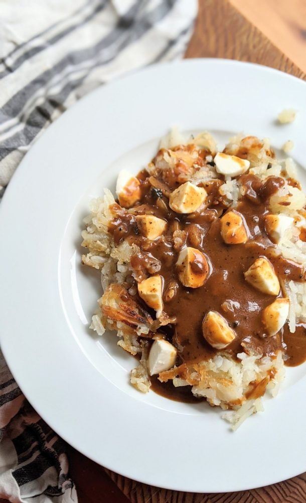 poutine for breakfast recipes with hash browns cheese curds and gravy for breakfast brunch recipes canadian inspired recipes bastardized recipes