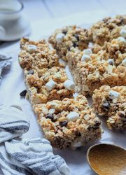 fun rice krispie treats with s'mores campfire marshmallow rice krispies treats milk chocolate and vanilla dessert bars with rice cereal summer desserts for a bbq party potluck dessert or cookout treats