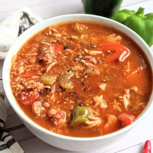 meatless stuffed pepper soup with rice tomatoes bell pepper and spices in a bowl with chiles