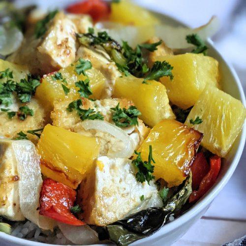 pineapple tofu rice bowls recipe healthy sheet pan dinners meatless vegan and vegetarian with tofu