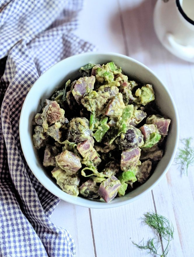 fancy picnic potato salad recipe with purple potatoes and herbs vegan gluten free purple potato salad without mayonnaise