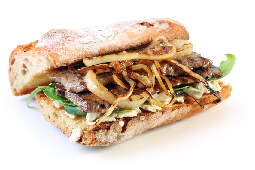 Steak and Watercress Sandwiches with Caramelized Onions ...