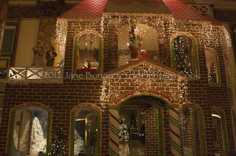 The breathtaking two-story gingerbread house inside the Fairmont Hotel