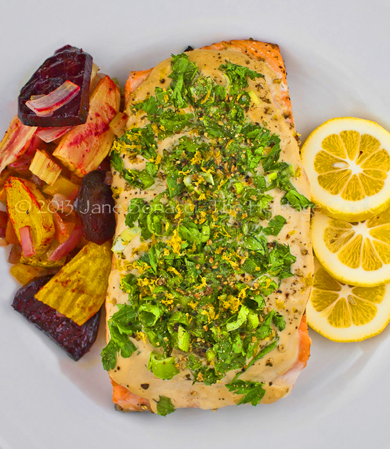 Grilled Salmon with Green Onions and Basil 4-2013