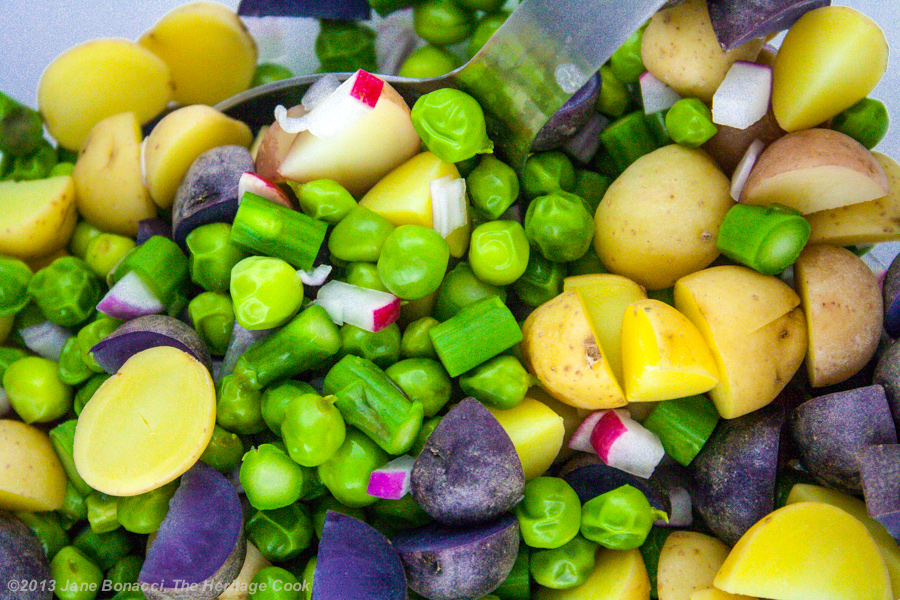 Pea-Potato-Bacon Salad from The Heritage Cook; freshly cooked vegetables