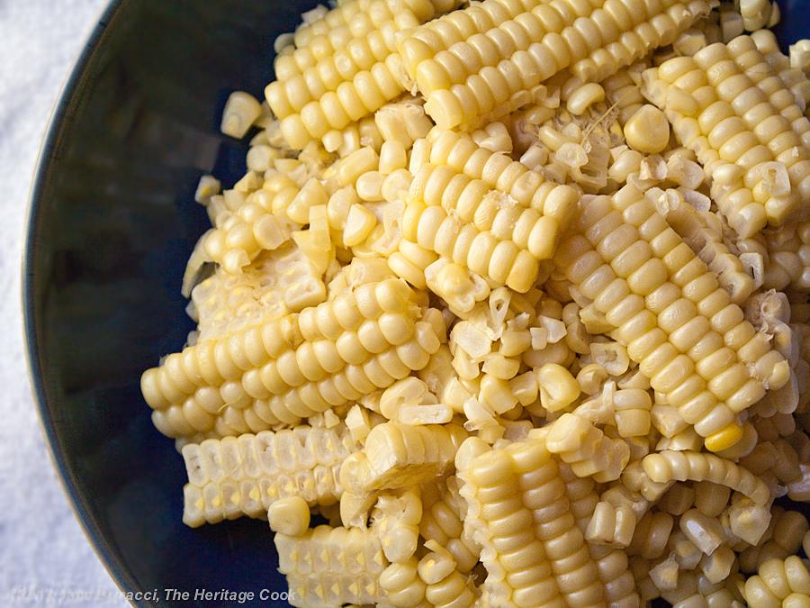 Fresh Corn & Tomato Salad; fresh kernels cut off the cob
