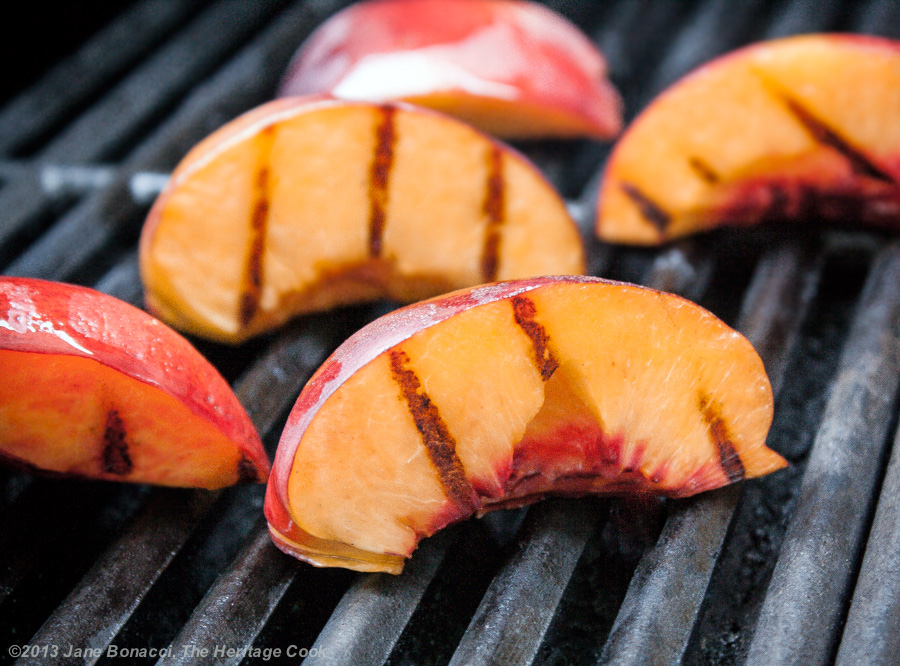 Grilled Peaches with Sweetened Mascarpone; The Heritage Cook ©2013