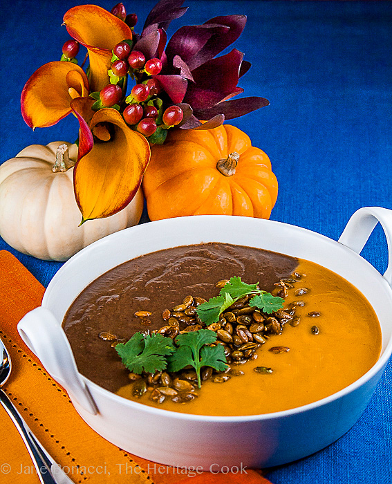 Jack O'Lantern Soup; Butternut Squash-Carrot Soup & Spicy Black Bean Soup #FallFest; 2013 The Heritage Cook. All rights reserved.