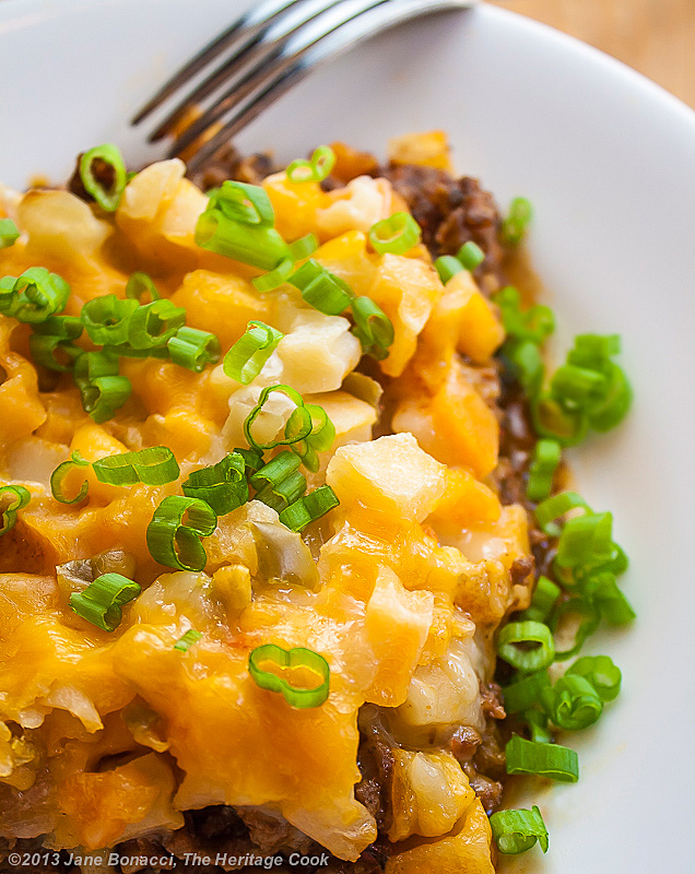 Cheesy Potato Taco Casserole; The Heritage Cook 2013