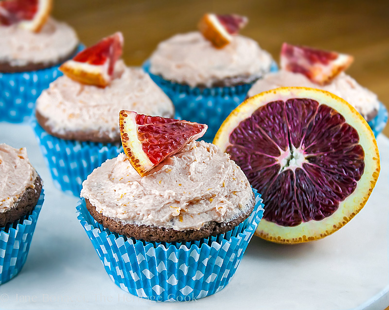 Chocolate-Blood Orange Cupcakes with Blood Orange Buttercream Frosting; 2014 Jane Bonacci, The Heritage Cook