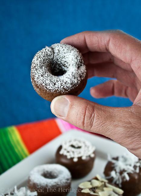 Baked Chocolate Mini Donuts; 2014 Jane Bonacci, The Heritage Cook