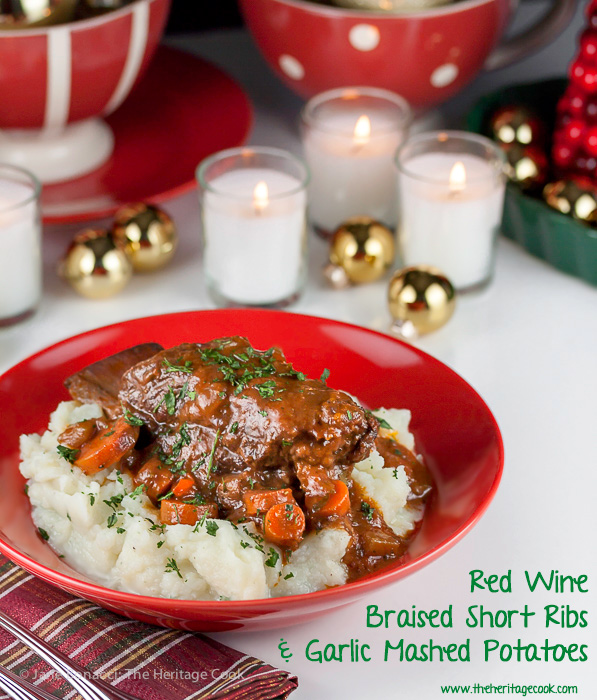 Red wine braised short ribs with garlic mashed potatoes; Gourmet Garden herbs