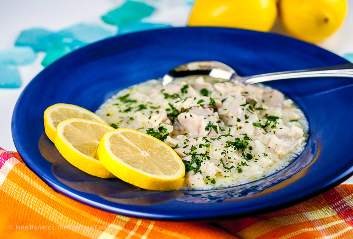 All the flavors of Greece in one bowl; chicken and lemon soup with rice