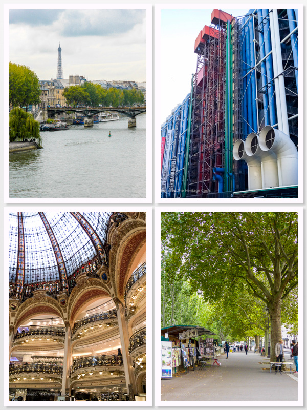 Pompidou, Galleries Lafayette, Seine River, Quay on the River Seine, Paris 2015 The Heritage Cook