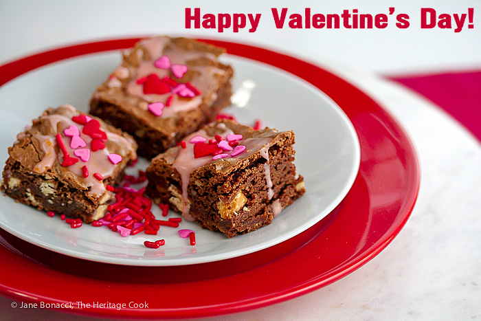 Happy Valentine's Day! Black and White Brownies (Gluten-Free) with Orange Glaze; 2015 Jane Bonacci, The Heritage Cook