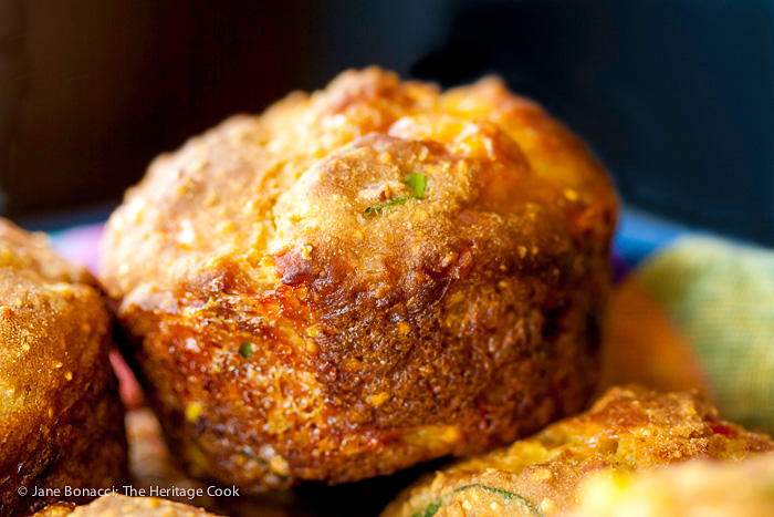 Fresh from the oven; Gluten Free Corn Muffins with Jalapeno and Cheese; 2015 Jane Bonacci, The Heritage Cook.