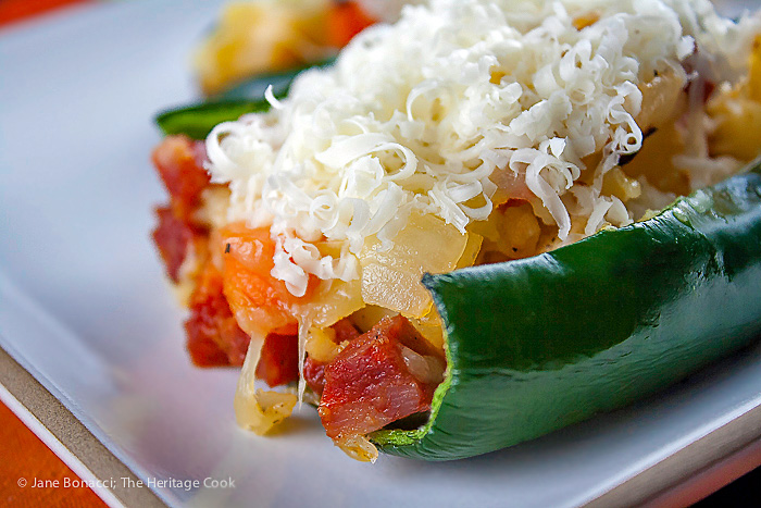 Chorizo, Potato & Carrot Stuffed Poblanos - The Most Delicious Irish Flag for St. Patrick's Day; 2015 Jane Bonacci, The Heritage Cook