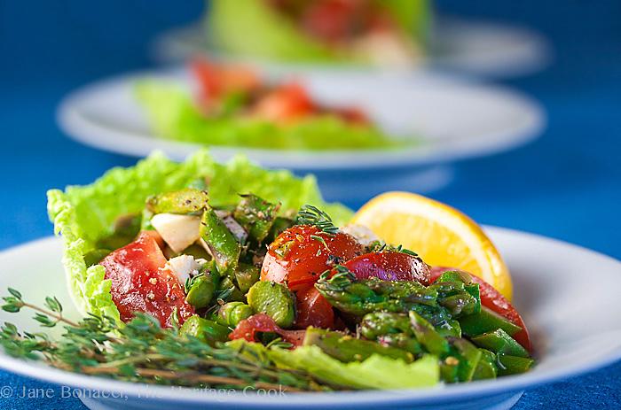 Asparagus, Tomato & Mozzarella Caprese Salad; © 2014 Jane Bonacci, The Heritage Cook