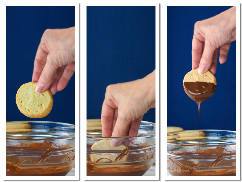 How to dip the cookies in melted chocolate; Chocolate Dipped Toffee Topped Sugar Cookies (Gluten-Free); 2015 Jane Bonacci, The Heritage Cook