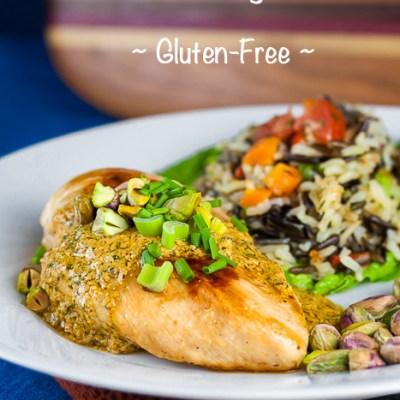 Mediterranean Chicken with Harissa-Yogurt Sauce and Pistachios (Gluten-Free)