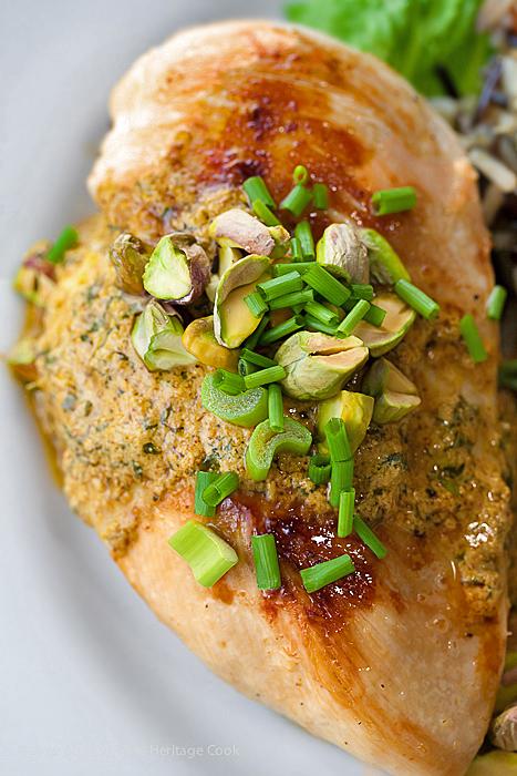 Mediterranean Chicken with Harissa-Yogurt Sauce and Pistachios; 2015 Jane Bonacci, The Heritage Cook