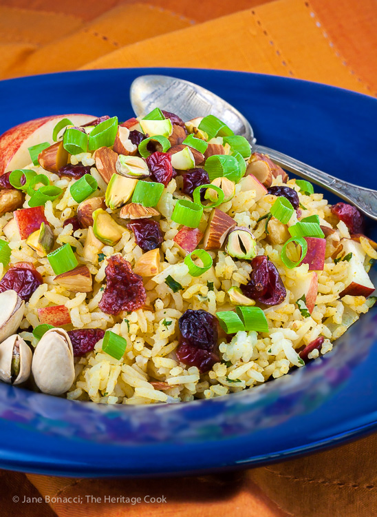Basmati Rice Pilaf with Apples, Dried Cranberries, and Almonds for #ProgressiveEats; 2015 Jane Bonacci, The Heritage Cook