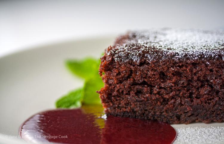Luscious Chocolate Cake & Raspberry Sauce; 2015 Jane Bonacci, The Heritage Cook