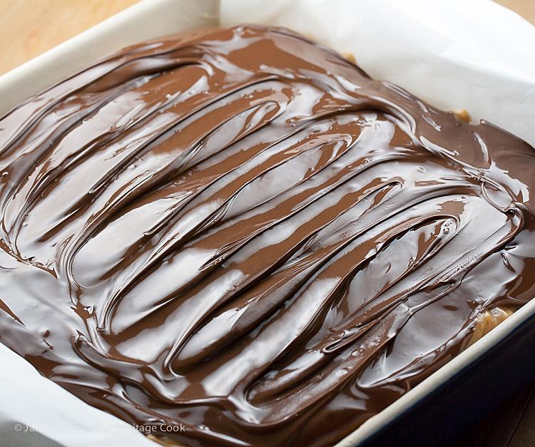 mmmmm Chocolate! Chocolate Chip Snickers Fudge; 2015 Jane Bonacci, The Heritage Cook