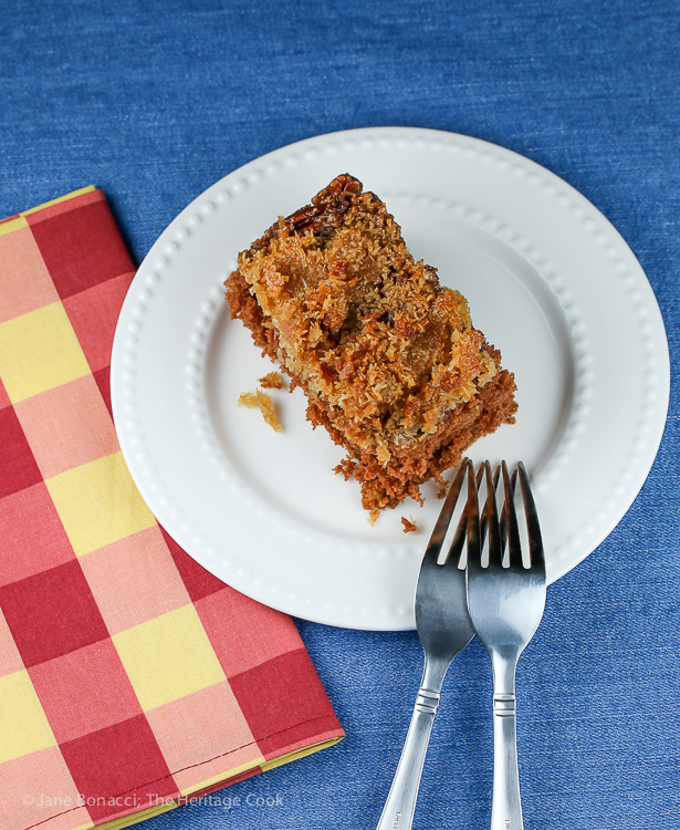 Upside Down German Chocolate Cake (Gluten-Free); 2015 Jane Bonacci, The Heritage Cook
