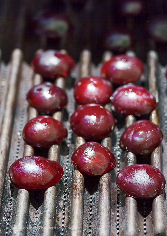 Grilling brings out the sweetness in the plums; Port & Grilled Plum Parfaits; 2014 Jane Bonacci, The Heritage Cook
