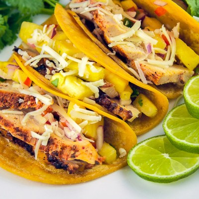Grilled Mexican Chicken Tacos with Pineapple Salsa (Gluten-Free)