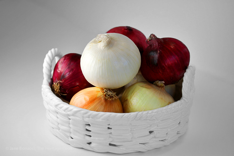 Beautiful fresh onions; Soul-Warming Tomato Soup with Peppers and Onions; 2015 Jane Bonacci, The Heritage Cook