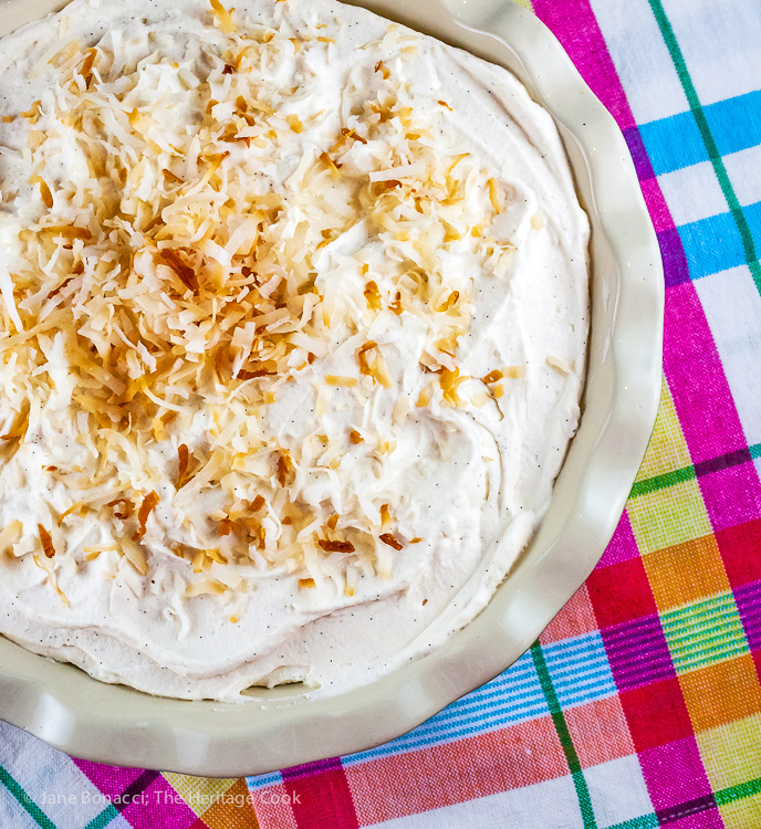 Coconut Cream Pie with Chocolate Cookie Crust (Gluten-Free); Some favorites from The Heritage Cook's Library of Recipes; 2015 Jane Bonacci, The Heritage Cook