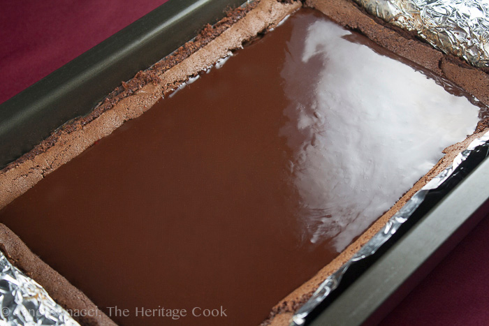 Gorgeous chocolate ganache; Raspberry Chocolate Brownies; 2015 Jane Bonacci, The Heritage Cook