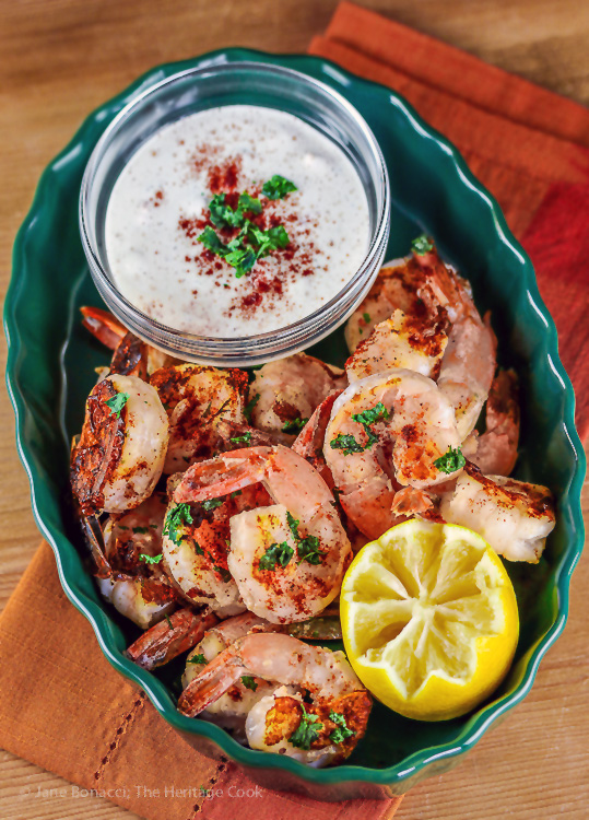 Grilled Shrimp with Chipotle Ranch Dipping Sauce (Gluten-Free); 2016 Jane Bonacci, The Heritage Cook