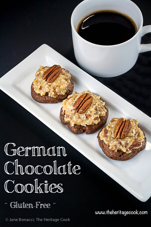 German Chocolate Cookies; dark chocolate cookies topped with coconut cake frosting and pecans; © 2014 Jane Bonacci, The Heritage Cook