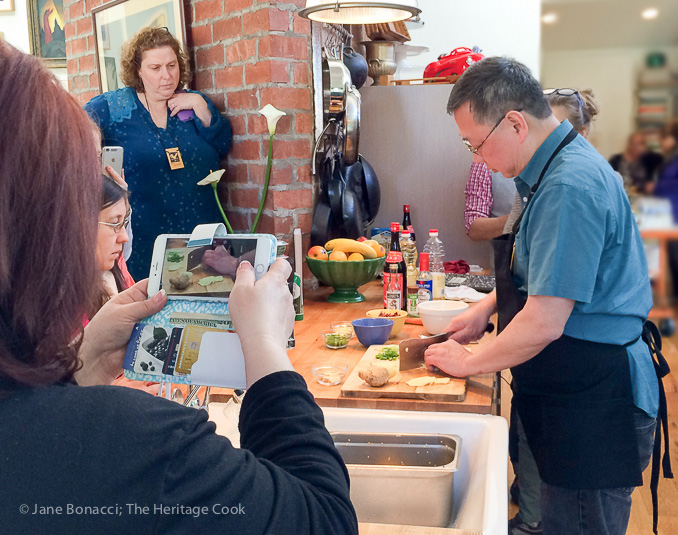 Make a video of the cooking demo - Libbie's lessons at work; A Magical Night in Venice Beach; © 2016 Jane Bonacci, The Heritage Cook