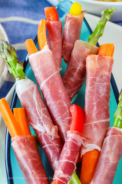 Prosciutto wrapped fresh veggies; Sabra's Unofficial Meal for Casual Gatherings; © 2016 Jane Bonacci, The Heritage Cook