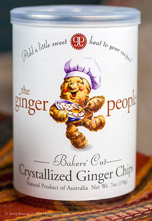 Can of crystallized ginger chips or candied ginger pieces; © 2016 Jane Bonacci, The Heritage Cook
